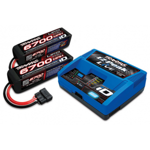 PACK CHARGEUR LIVE 2971G + 2 LIPO 4S 6700MAH 2890X PRISE TRAXXAS