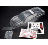 Body, Rustler (clear, requires painting)/window, lights decal sheet/ wing and aluminum hardware Traxxas