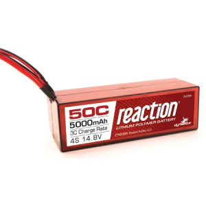 Reaction 14.8V 5000mAh 4S 50C LiPo, Hardcase:Deans